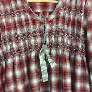 Sundance Tops - Sundance Plaid Top Shirt Bell Sleeves Medium